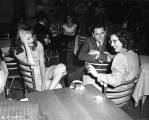a candid shot on the set of Gilda of Rita, her leading man, Glenn Ford, and Gilda producer, Virginia Van Upp