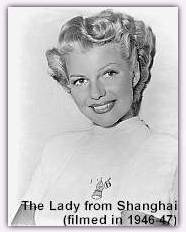 publicity shot for The Lady from Shanghai (1948) showcasing Rita's new look