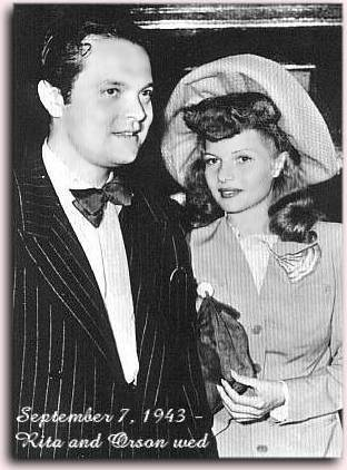 Rita and Orson Welles on their wedding day
