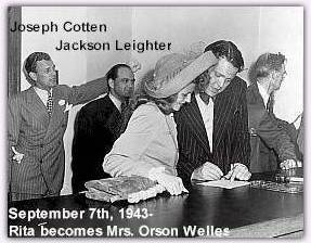A wedding picture from Rita and Orson's marriage. Witness Jackson Leighter is at left and best man Joseph Cotten is at far left
