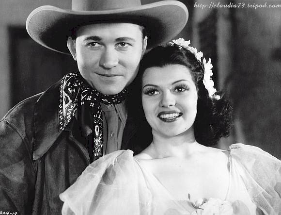 Rita Cansino with Tex Ritter in Trouble in Texas