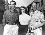 Fred MacMurray, Rita and Van Johnson on the Columbia lot